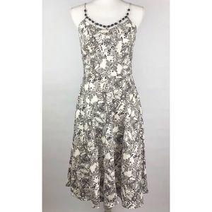 Ann Taylor Loft Floral Dress Beaded Neckline Sz 4